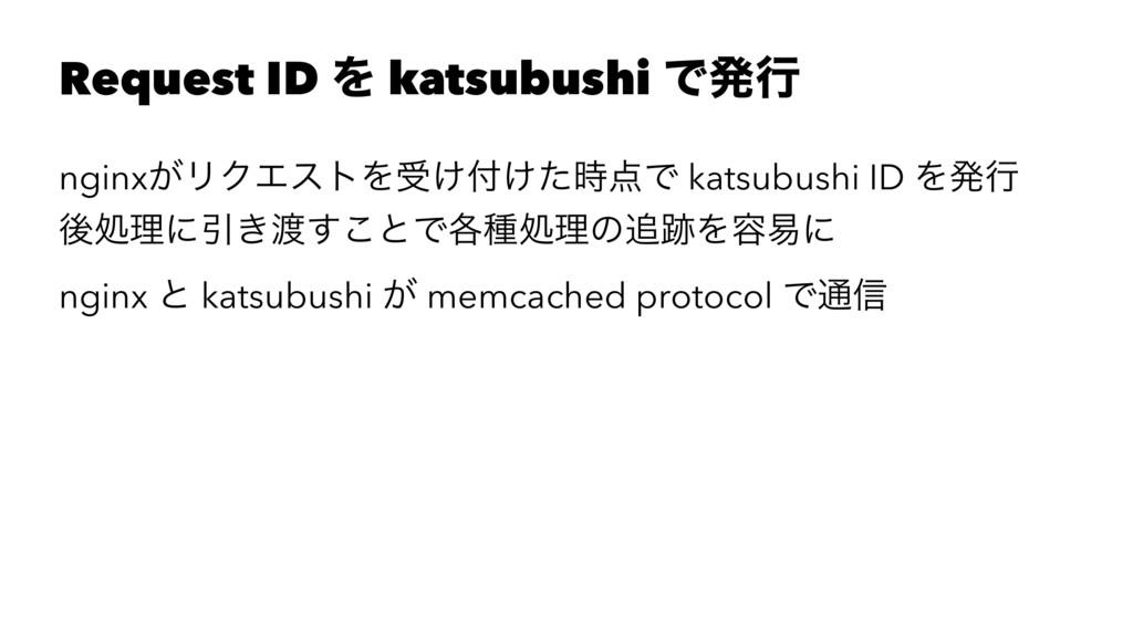 Request ID Λ katsubushi Ͱൃߦ nginx͕ϦΫΤετΛड͚͚ͨ...