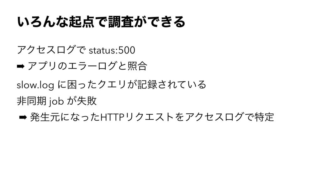 ͍ΖΜͳىͰௐ͕ࠪͰ͖Δ ΞΫηεϩάͰ status:500 ➡ ΞϓϦͷΤϥʔϩάͱর߹...
