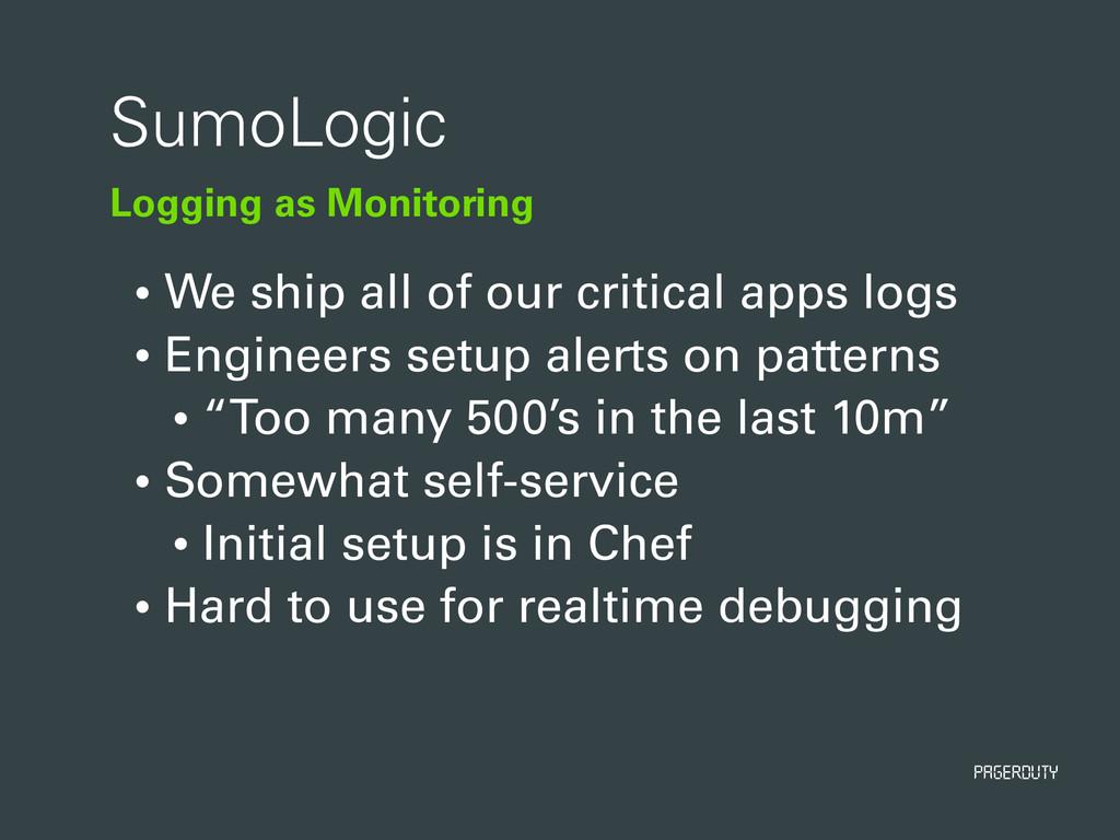 PagerDuty Logging as Monitoring SumoLogic • We ...