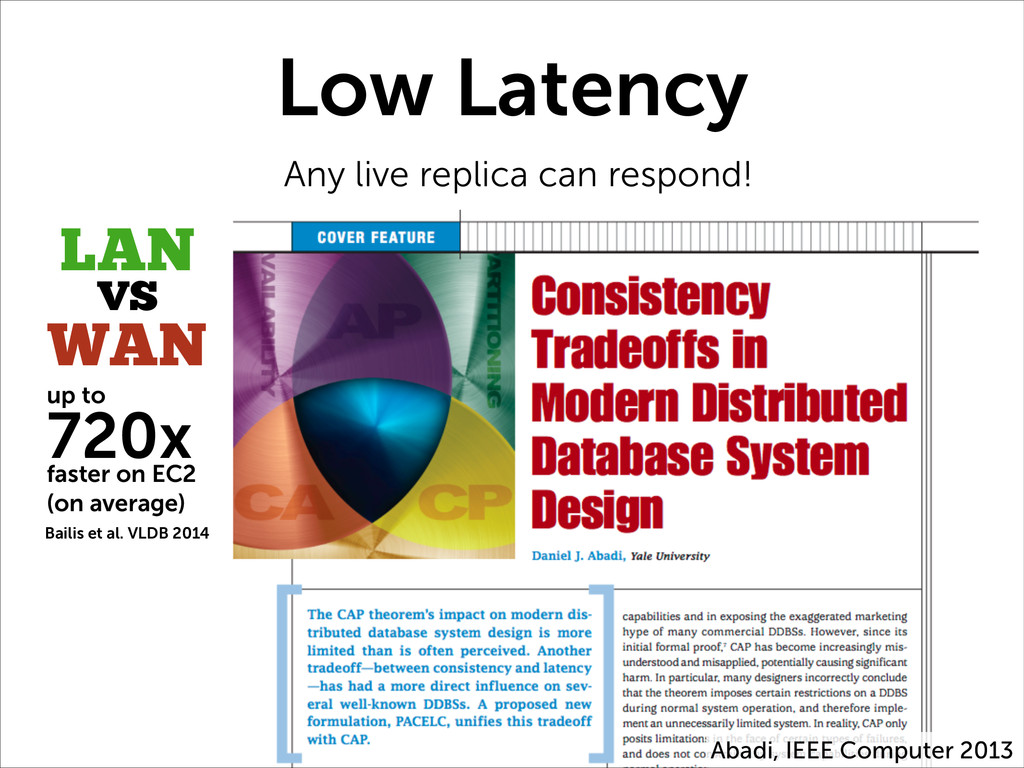 Low Latency Any live replica can respond! Abadi...