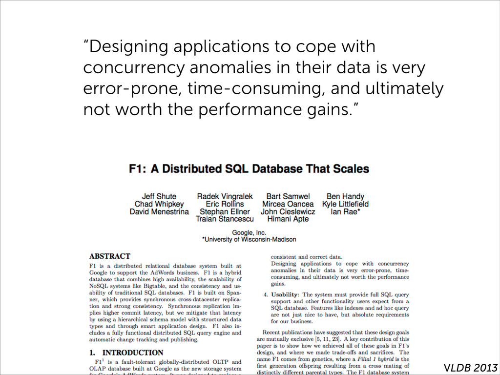 """""""Designing applications to cope with concurrenc..."""