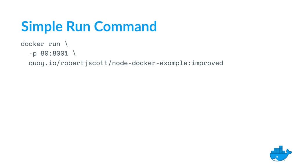 docker run \ -p 80:8001 \ quay.io/robertjscott/...