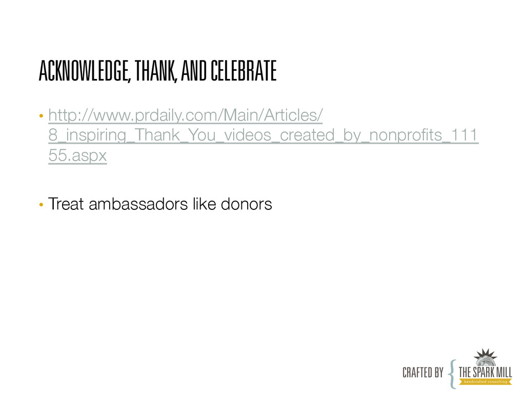 ACKNOWLEDGE, THANK, AND CELEBRATE • http://www...