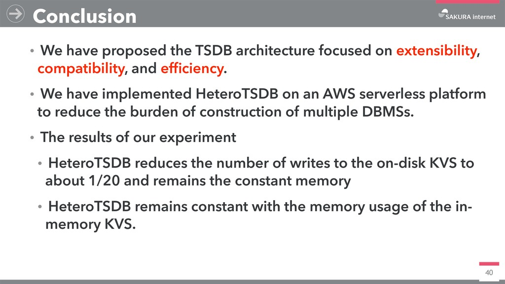 40 Conclusion ɾWe have proposed the TSDB archit...
