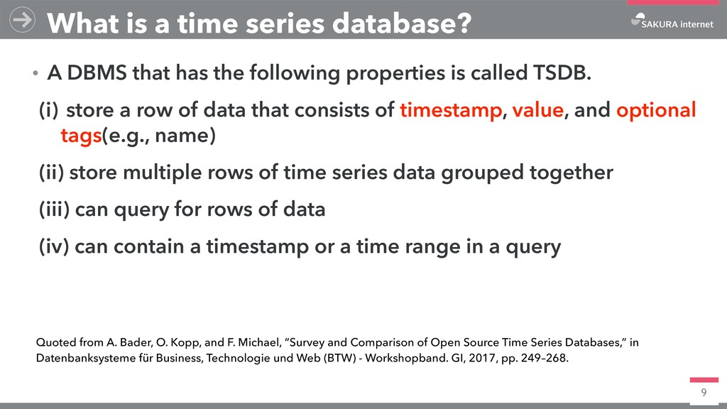 9 What is a time series database? ɾA DBMS that ...