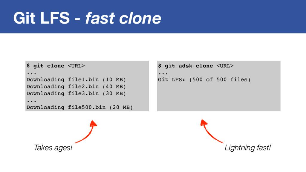 Git LFS - fast clone $ git clone <URL> ... Down...