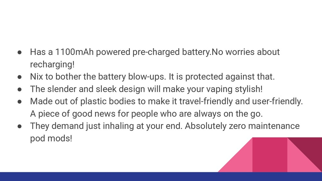 ● Has a 1100mAh powered pre-charged battery.No ...