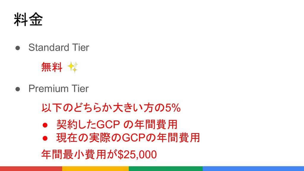 料金 ● Standard Tier ● Premium Tier 無料 ✨ 以下のどちらか大...
