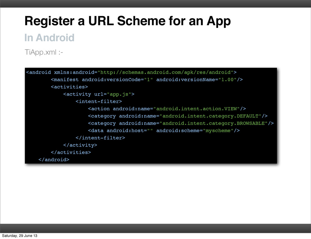 Register a URL Scheme for an App In Android <an...