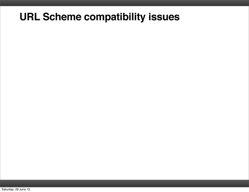 URL Scheme compatibility issues Saturday, 29 Ju...