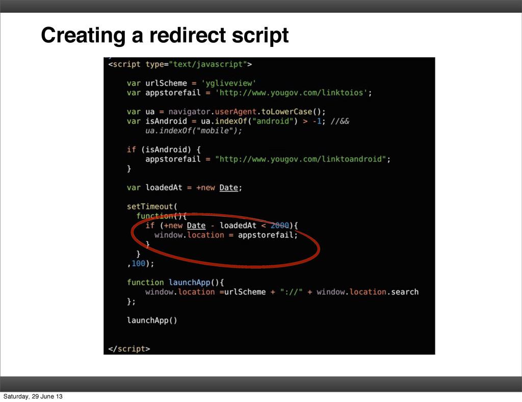 Creating a redirect script Saturday, 29 June 13
