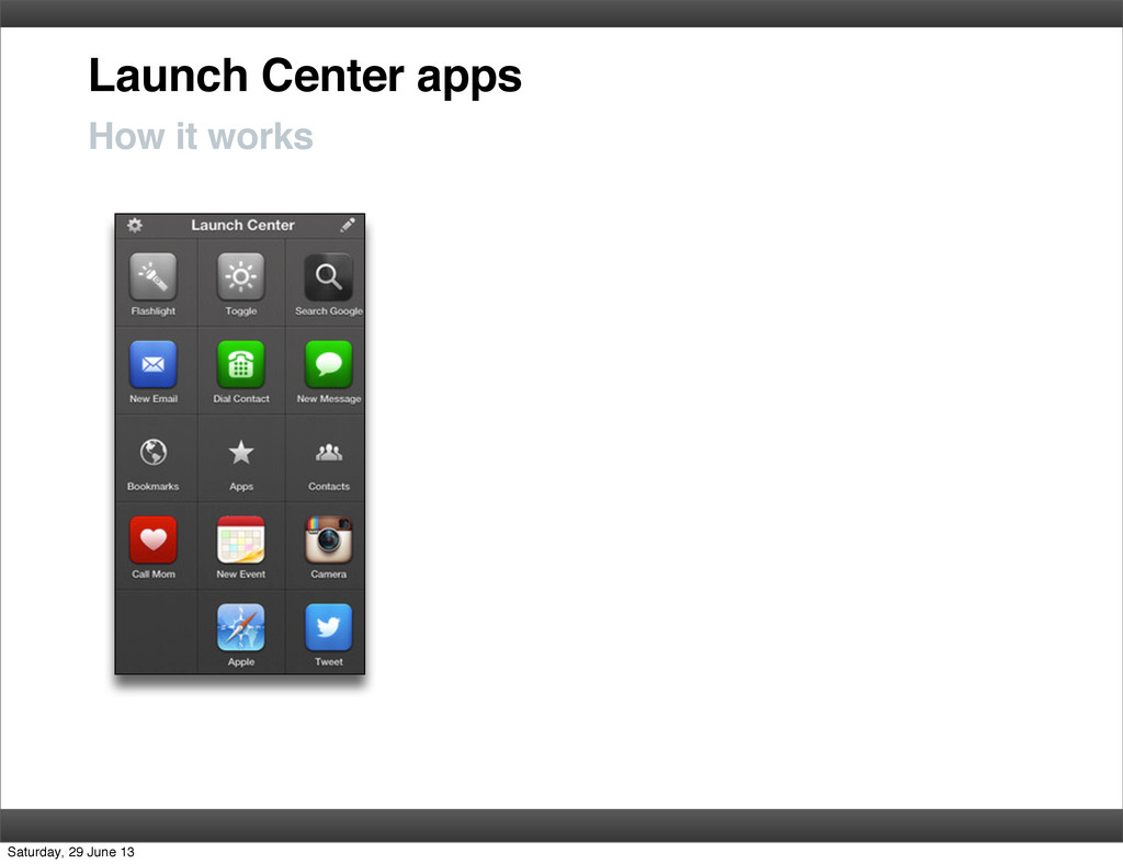 Launch Center apps How it works Saturday, 29 Ju...