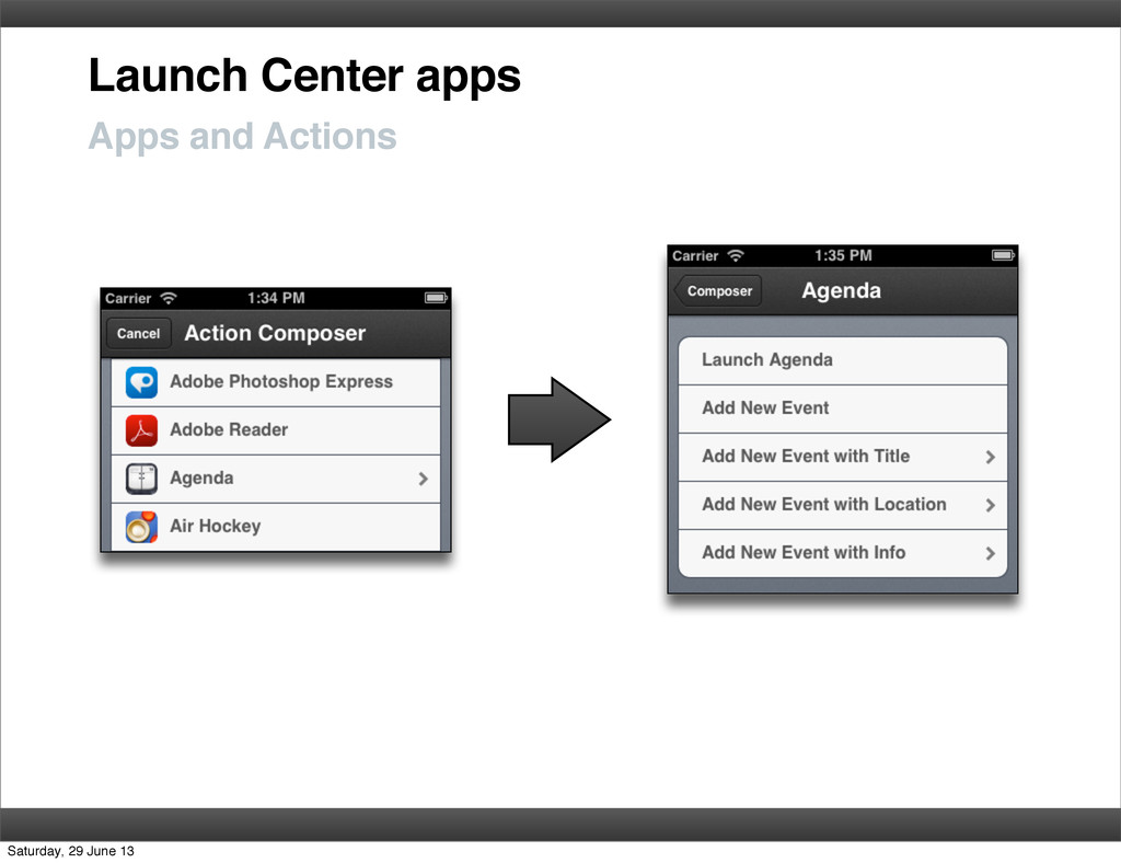 Launch Center apps Apps and Actions Saturday, 2...
