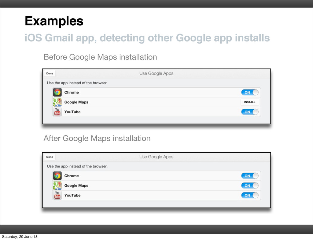 Examples iOS Gmail app, detecting other Google ...