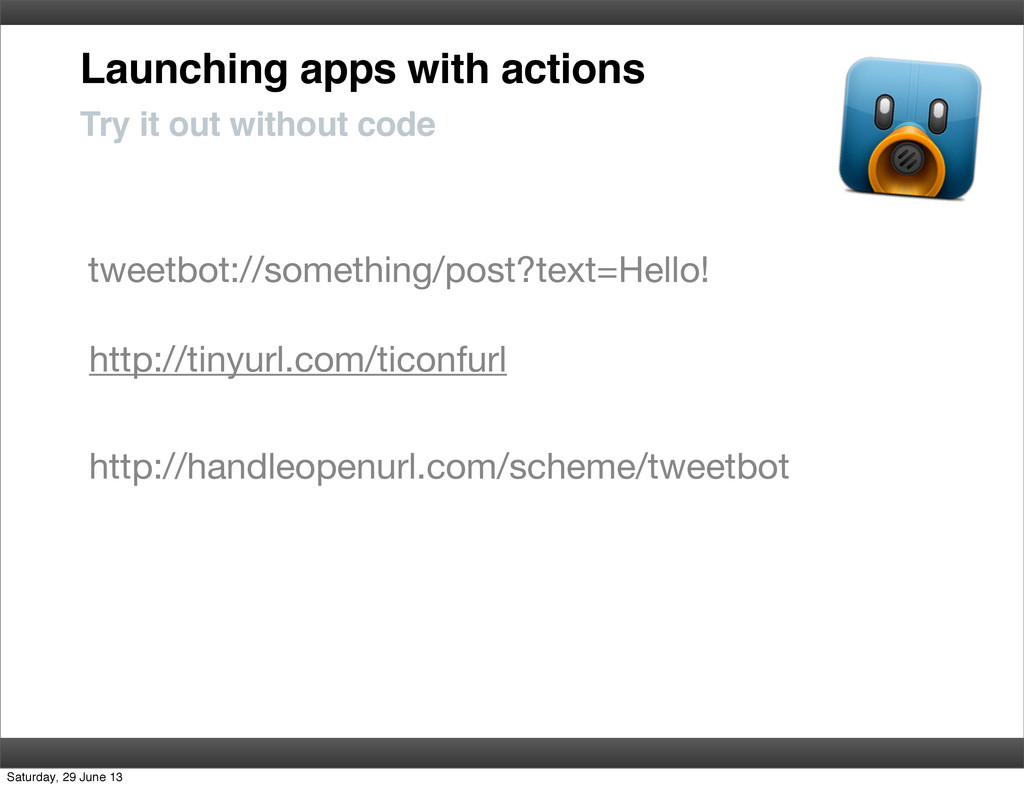 Launching apps with actions Try it out without ...