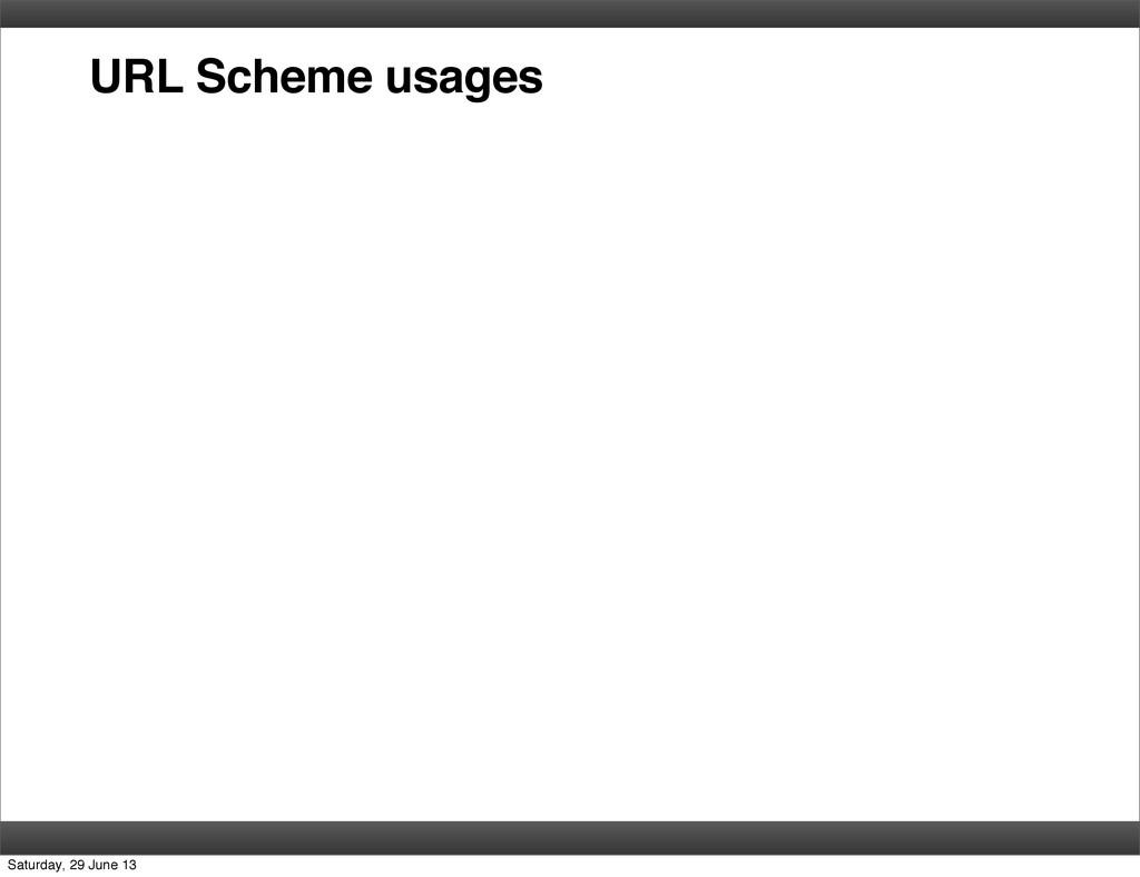 URL Scheme usages Saturday, 29 June 13