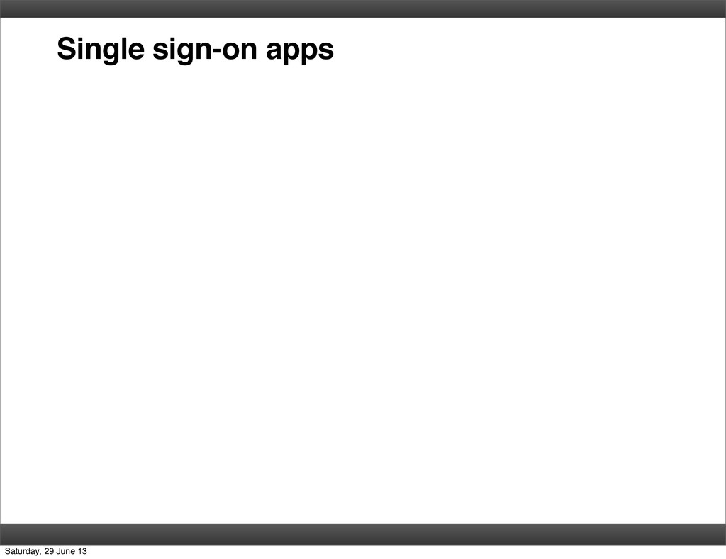 Single sign-on apps Saturday, 29 June 13