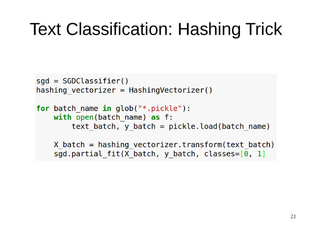 21 Text Classification: Hashing Trick