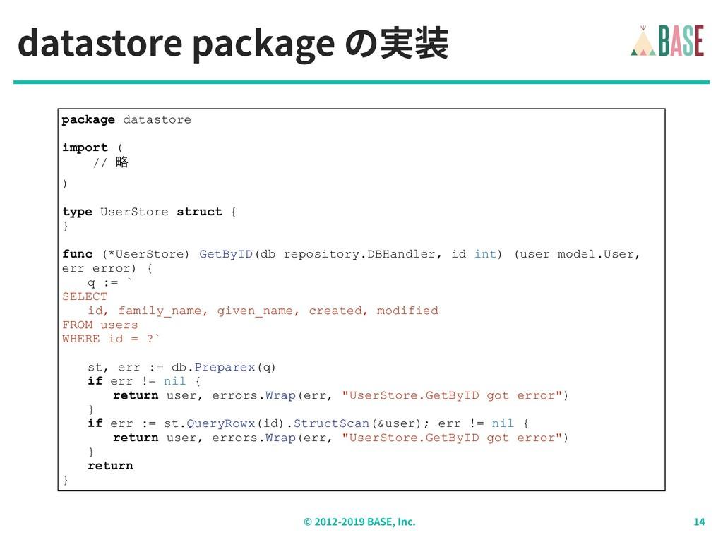 © - BASE, Inc. datastore package の実装 package da...