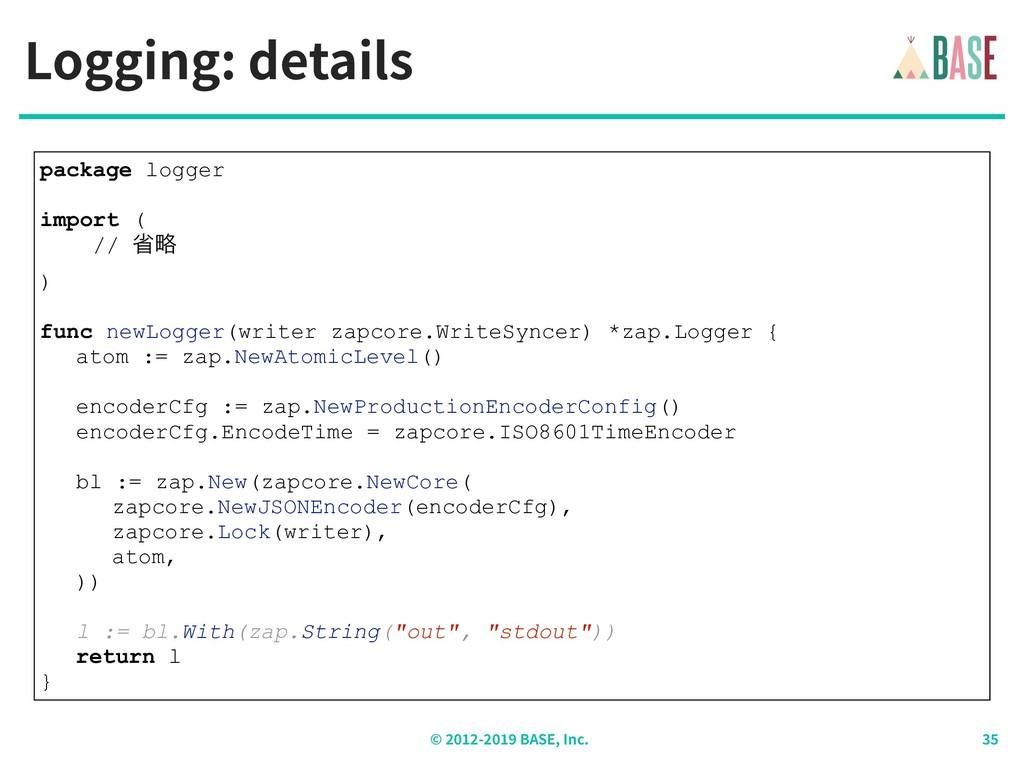 © - BASE, Inc. Logging: details package logger ...