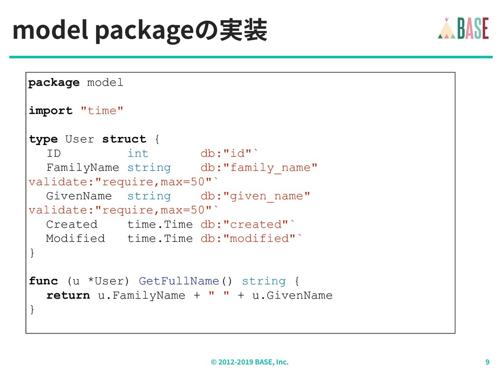 © - BASE, Inc. model packageの実装 package model i...