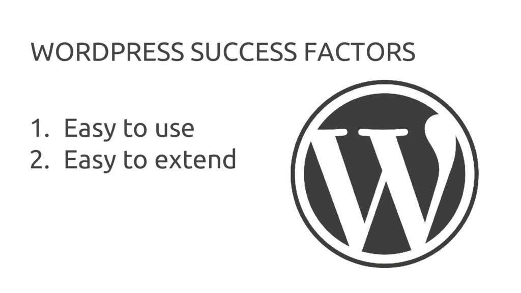 WORDPRESS SUCCESS FACTORS 1. Easy to use 2. Eas...