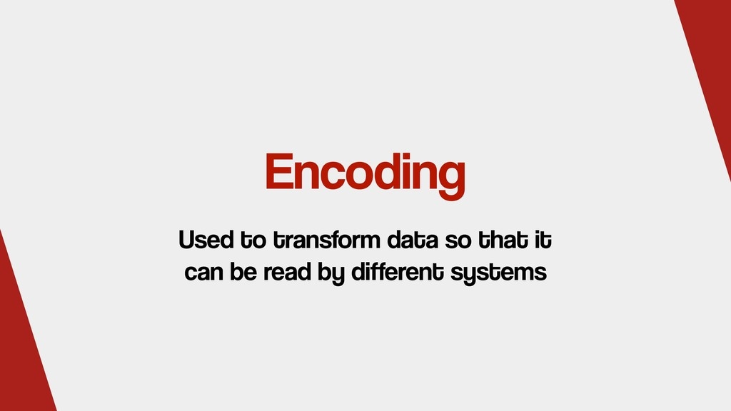 Encoding Used to transform data so that it can ...