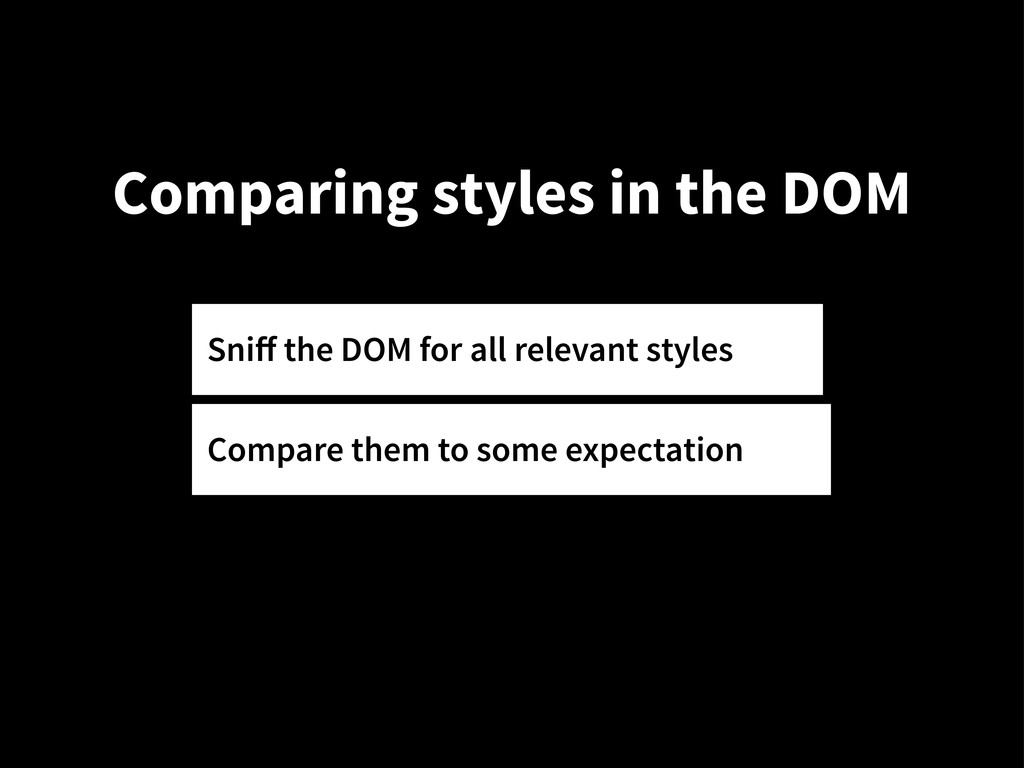 Comparing styles in the DOM Sniff the DOM for al...