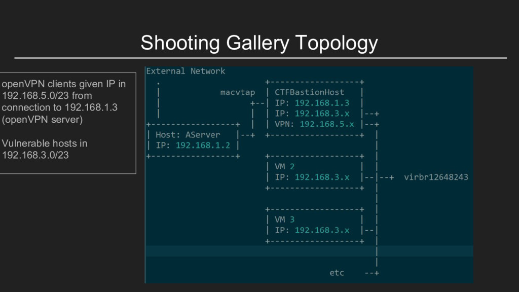 Shooting Gallery Topology openVPN clients given...