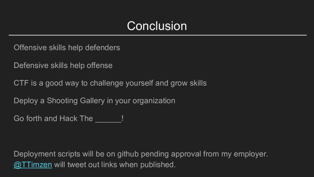 Conclusion Offensive skills help defenders Defe...