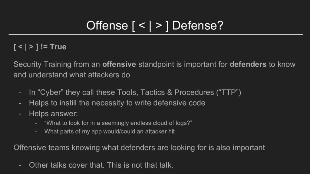 Offense [ <   > ] Defense? [ <   > ] != True Se...