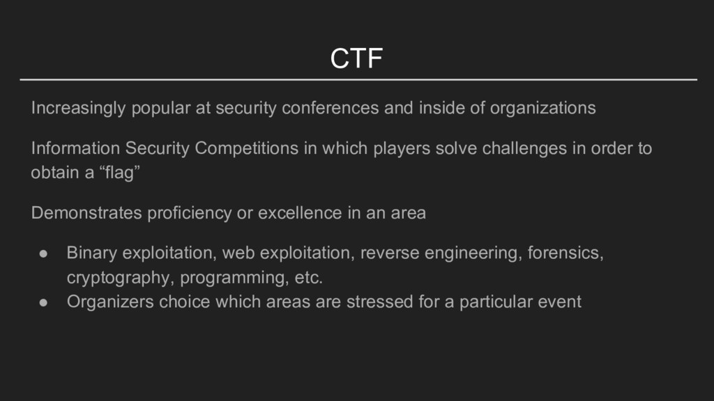 CTF Increasingly popular at security conference...