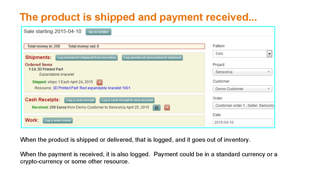 The product is shipped and payment received... ...
