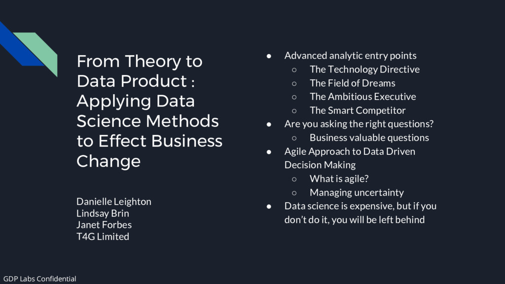 From Theory to Data Product : Applying Data Sci...