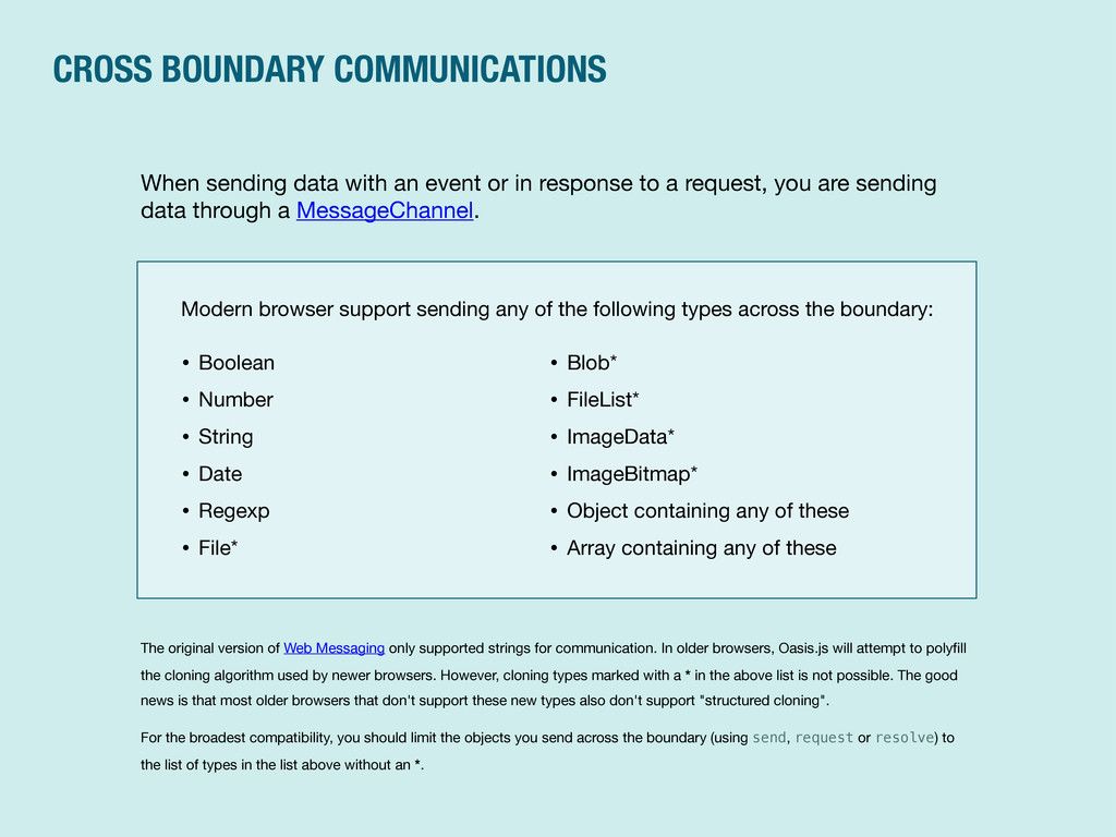 CROSS BOUNDARY COMMUNICATIONS When sending data...