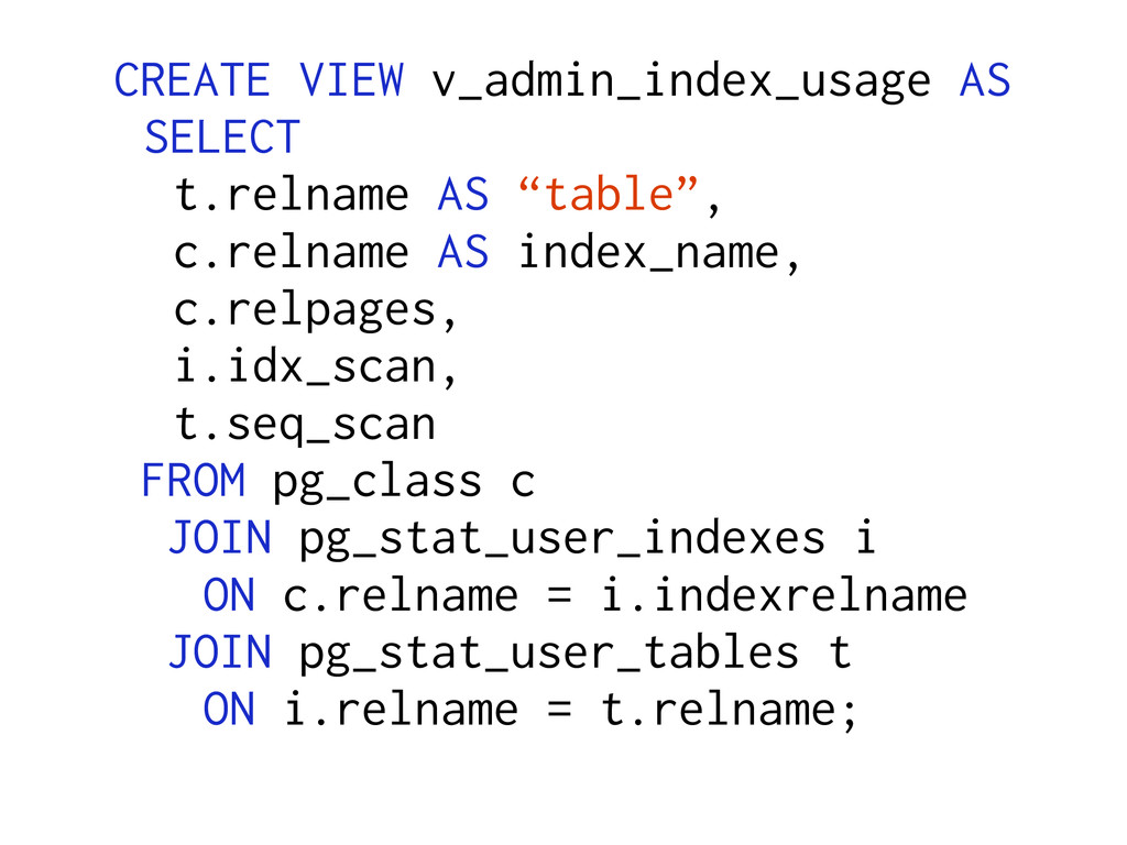 CREATE VIEW v_admin_index_usage AS SELECT t.rel...