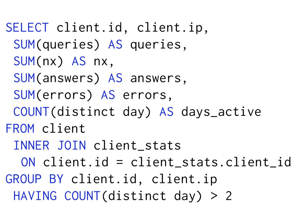 SELECT client.id, client.ip, SUM(queries) AS qu...