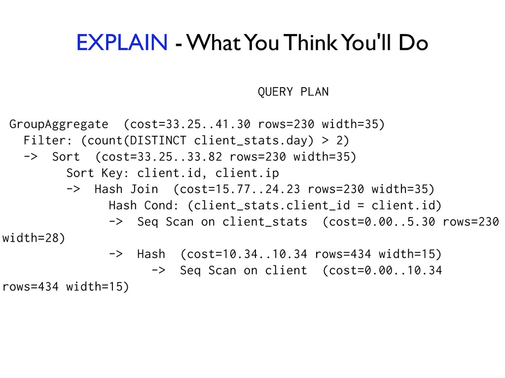 QUERY PLAN ! GroupAggregate (cost=33.25..41.30 ...
