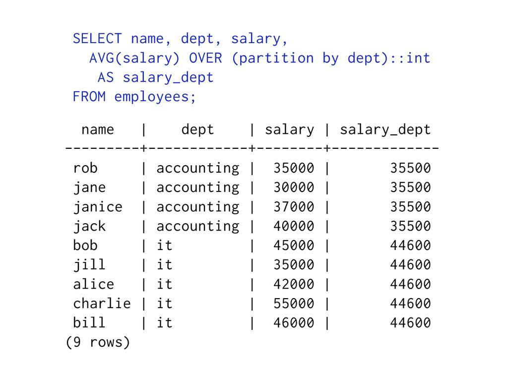 name | dept | salary | salary_dept ---------+--...