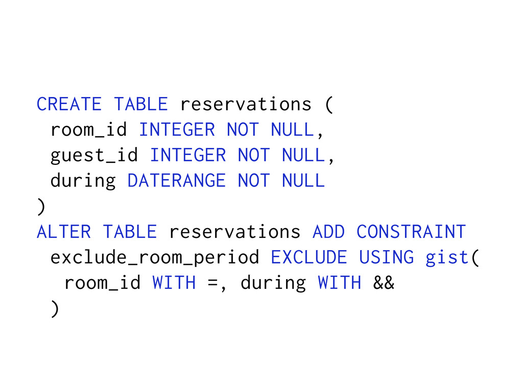 CREATE TABLE reservations ( room_id INTEGER NOT...