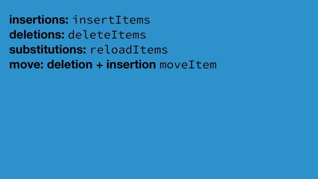 insertions: insertItems deletions: deleteItems ...