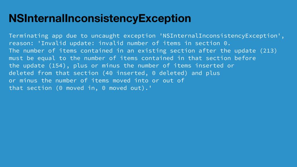 NSInternalInconsistencyException Terminating ap...