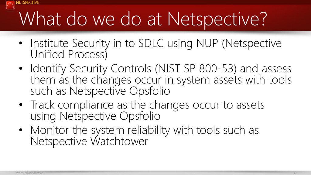 NETSPECTIVE www.netspective.com 30 What do we d...