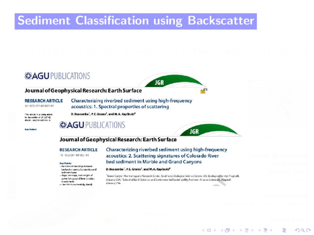 Sediment Classification using Backscatter