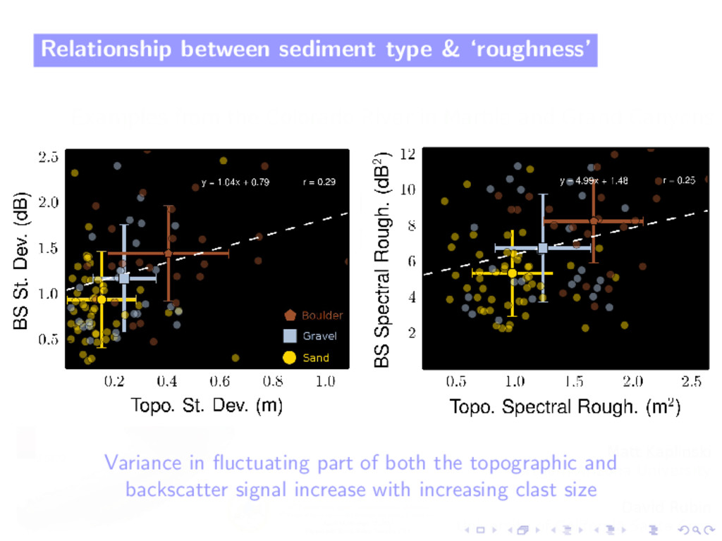 Relationship between sediment type & 'roughness...