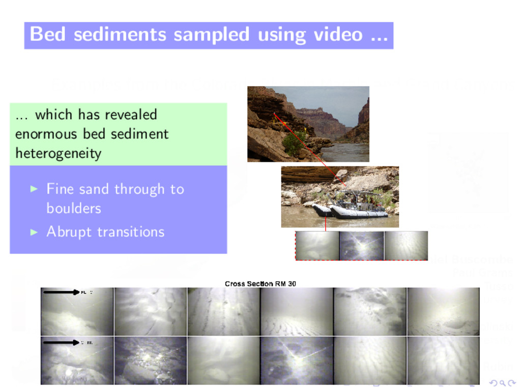Bed sediments sampled using video ... ... which...