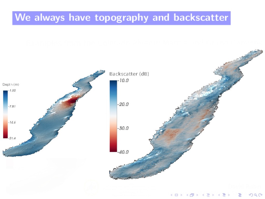 We always have topography and backscatter