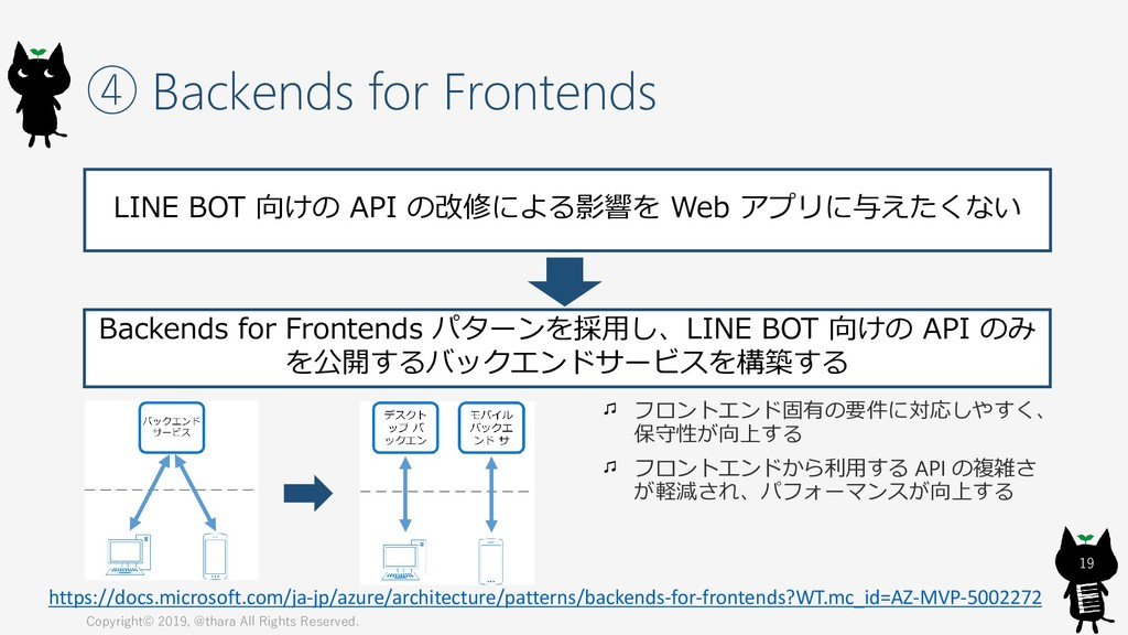 ④ Backends for Frontends Copyright© 2019, @thar...