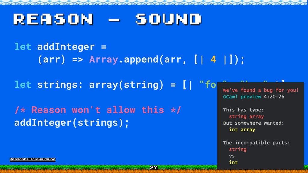 Reason - sound let addInteger = (arr) => Array....