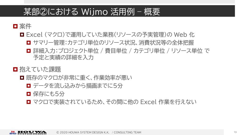 某部②における Wijmo 活用例 – 概要  案件  Excel (マクロ)で運用してい...